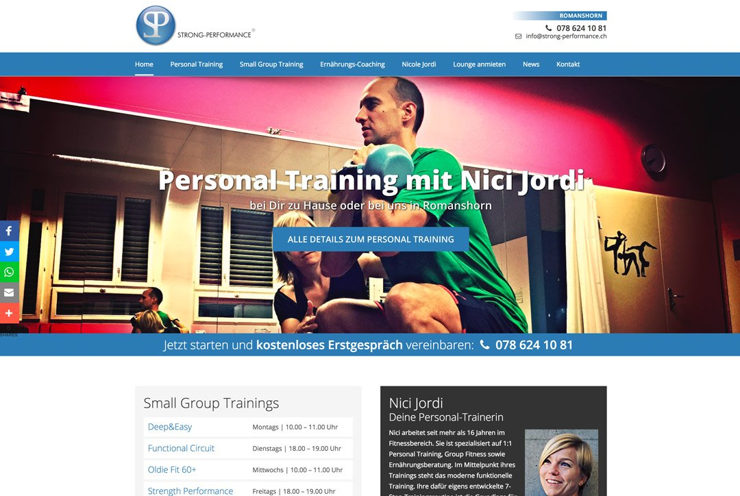 Webdesign Personal Training Romanshorn